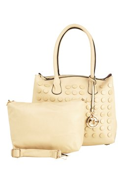Vero Couture Cream Riveted Shoulder Bag With Pouch
