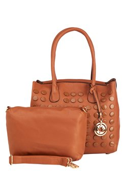 Vero Couture Brown Riveted Shoulder Bag With Pouch