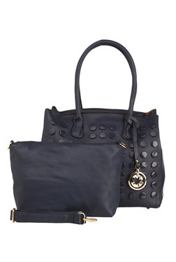 Vero Couture Navy Riveted Shoulder Bag With Pouch