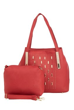 Vero Couture Red Riveted Shoulder Bag With Pouch