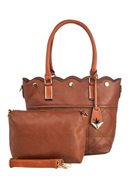 Vero Couture Dark Brown Stitched Shoulder Bag With Pouch