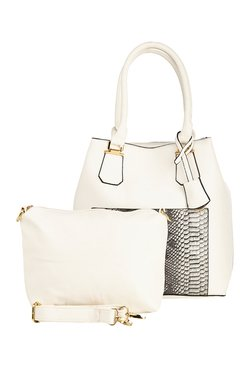 Vero Couture White Snake Print Shoulder Bag With Pouch