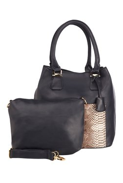 Vero Couture Navy Snake Print Shoulder Bag With Pouch