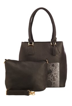 Vero Couture Dark Brown Snake Print Shoulder Bag With Pouch