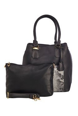 Vero Couture Black Snake Print Shoulder Bag With Pouch