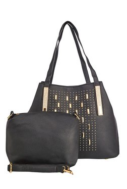 Vero Couture Black Riveted Shoulder Bag With Pouch
