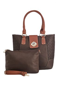 Vero Couture Coffee Brown Laser Cut Shoulder Bag With Pouch