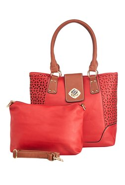 Vero Couture Red Laser Cut Shoulder Bag With Pouch