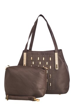 Vero Couture Coffee Brown Riveted Shoulder Bag With Pouch