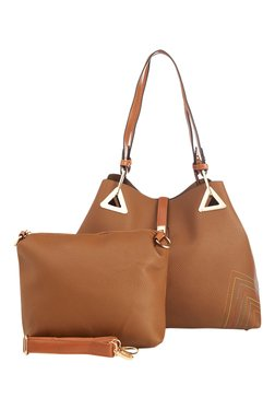 Vero Couture Brown Stitch Detail Shoulder Bag With Pouch