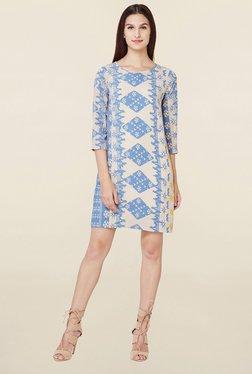 AND Beige & Blue Printed Dress