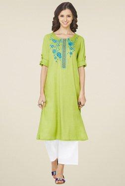 Global Desi Lime Green Embroidered Kurta
