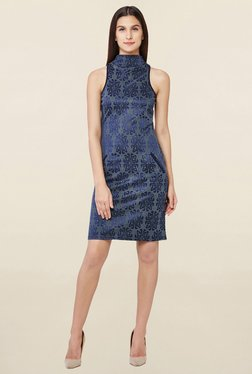 AND Grey & Blue Printed Dress