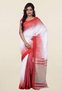 Bengal Handloom White & Red Silk & Cotton Saree