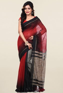 Bengal Handloom Red & Black Silk & Cotton Saree
