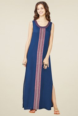 Global Desi Indigo Regular Fit Maxi Dress