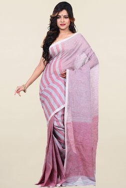 77578473fea126 Bengal Handloom Pink   Grey Striped Linen   Cotton Saree