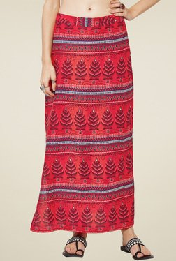 Global Desi Red Printed Skirt