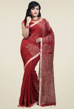 Bengal Handloom Dark Red Cotton Silk Saree