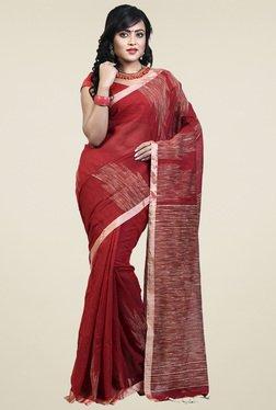 Bengal Handloom Dark Red Cotton Silk Saree