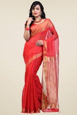 Bengal Handloom Peach Cotton Silk Saree