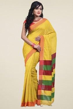 Bengal Handloom Yellow Cotton Silk Saree - Mp000000001276255