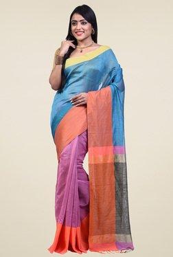 Bengal Handloom Blue Cotton Silk Saree