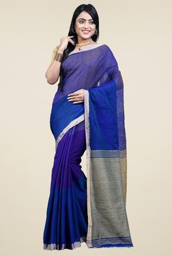 Bengal Handloom Royal Blue Cotton Silk Saree