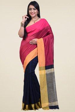 Bengal Handloom Maroon Cotton Silk Saree