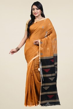 Bengal Handloom Mustard Cotton Silk Saree