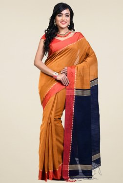 Bengal Handloom Brown & Navy Cotton Silk Saree