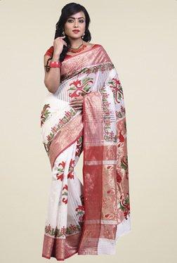 Bengal Handloom White Cotton Silk Saree
