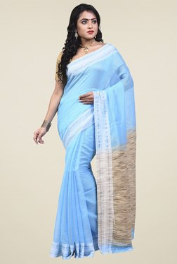 Bengal Handloom Ice Blue Cotton Silk Saree