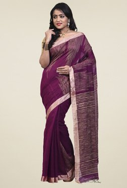 Bengal Handloom Purple Cotton Silk Saree