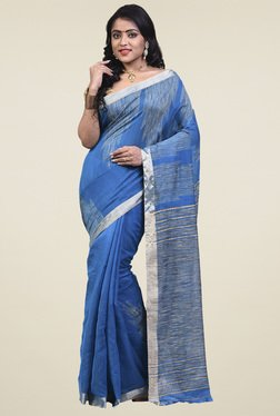 Bengal Handloom Azure Blue Cotton Silk Saree