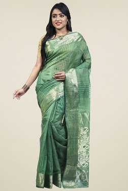 Bengal Handloom Green Cotton Silk Saree