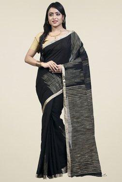 Bengal Handloom Black Cotton Silk Saree