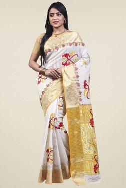 Bengal Handloom White Cotton Silk Saree - Mp000000001276433
