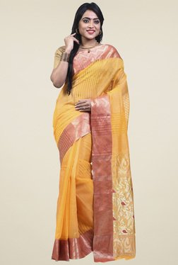 Bengal Handloom Yellow Cotton Silk Saree - Mp000000001276441
