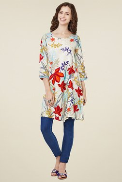Global Desi Off-White Floral Printed Tunic