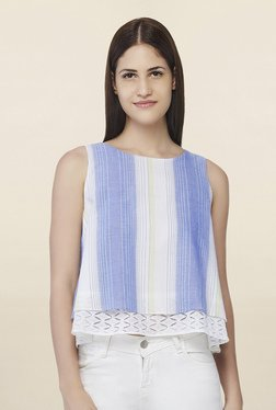 AND White & Blue Striped Crop Top