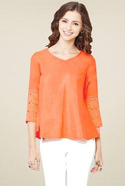 Global Desi Orange Regular Fit Top