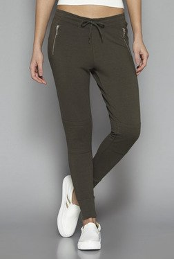 Nuon By Westside Olive Solid Pants