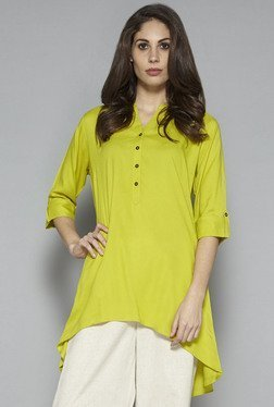 Utsa By Westside Lime Green Solid Kurti