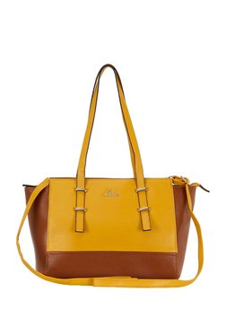 Lavie Bignay Ochre And Brown Trapeze Bag