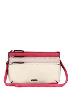Lavie Trim Cream And Pink Color Block Sling Bag