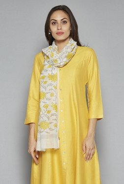 Zuba By Westside Yellow Floral Print Dupatta