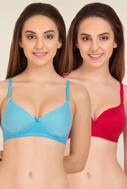 784b98ec74 Tweens Turquoise   Red Full Coverage Bra (Pack of ...