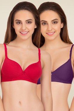 Tweens Red & Purple Padded Bra (Pack Of 2)