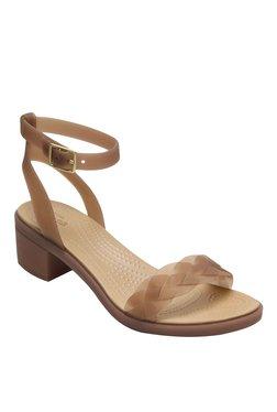 b59e407988a4 Crocs Isabella Brown   Golden Ankle Strap Sandals